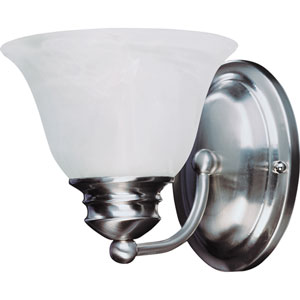 Malaga Satin Nickel One-Light Six-Inch Bath Fixture with Marble Glass