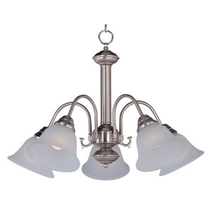 Malaga Satin Nickel Five-Light Down Light Chandelier