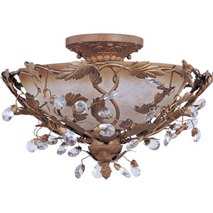 Elegante Etruscan Gold Semi-Flush Ceiling Light