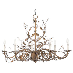 Elegante Etruscan Gold Eight-Light Chandelier
