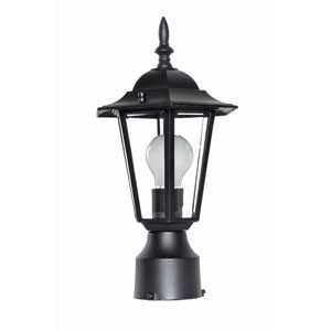 Builder Cast Black One-Light Eight-Inch Outdoor Post