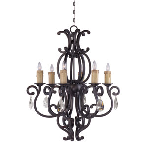 Richmond Colonial Umber 30.5-Inch Wide Six-Light Single-Tier Chandelier with White Crystal