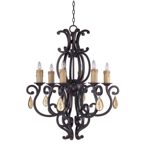 Richmond Colonial Umber 30.5-Inch Wide Six-Light Single-Tier Chandelier with Yellow Crystal
