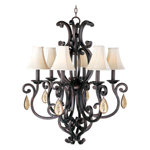 Richmond Colonial Umber Six-Light Crystal Chandelier with Shades