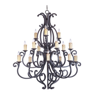 Richmond Colonial Umber 15-Light Multi-Tier Chandelier with White Crystals