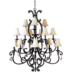 Richmond Colonial Umber Fifteen-Light Crystal Chandelier with Shades