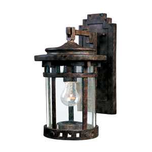 Santa Barbara Sienna One-Light Outdoor Wall Mount with Seedy Glass