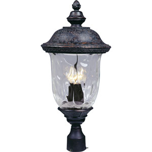 Carriage House Oriental Bronze Three-Light Outdoor Post Light with Water Glass