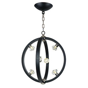 Equinox Textured Black LED Six-Light Pendant