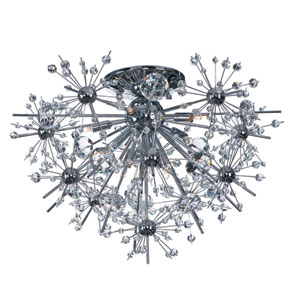 Starfire Polished Chrome Eight Light Flush Mount with Beveled Crystal Glass