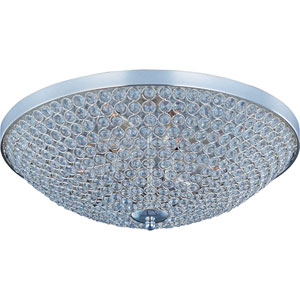 Glimmer Plated Silver Nine-Light Flush Mount