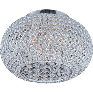 Glimmer Plated Silver Five-Light Flush Mount