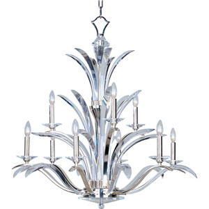 Paradise Plated Silver Nine-Light Chandelier
