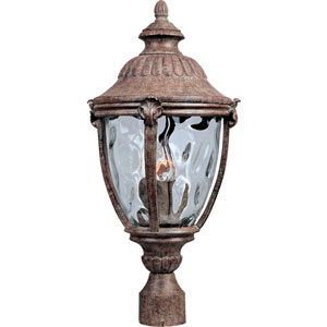 Morrow Bay Earth Tone Three-Light Outdoor Post Light with Water Glass