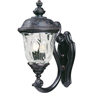 Carriage House Oriental Bronze Two-Light Outdoor Wall Mount with Water Glass