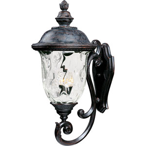 Carriage House Oriental Bronze Three-Light Outdoor Wall Mount with Water Glass
