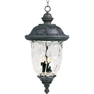 Carriage House Oriental Bronze Three-Light Outdoor Pendant with Water Glass