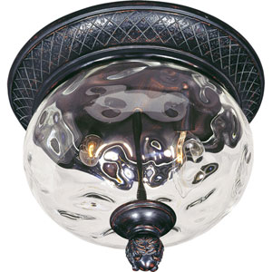 Carriage House Oriental Bronze Two-Light Outdoor Ceiling Mount with Water Glass
