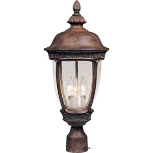Knob Hill Sienna Three-Light Outdoor Post Light with Seedy Glass