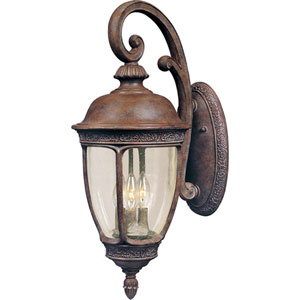 Knob Hill Sienna Three-Light Outdoor Wall Mount with Seedy Glass