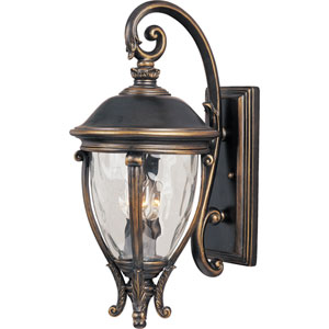 Camden Golden Bronze Three-Light Outdoor Wall Mount with Water Glass