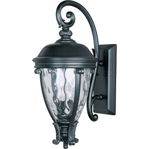 Camden Black Three-Light Outdoor Wall Mount with Water Glass