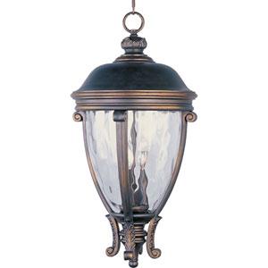 Camden Golden Bronze Three-Light Outdoor Pendant with Water Glass