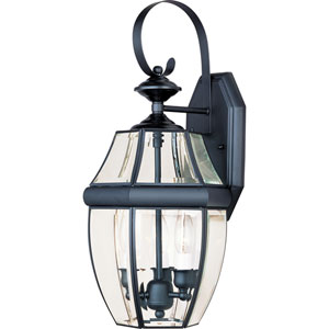 South Park Black Three-Light Outdoor Wall Mount with Clear Glass