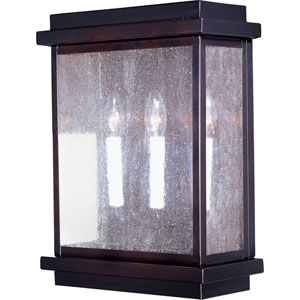 Cubes Burnished Three-Light Outdoor Wall Mount with Seedy Glass