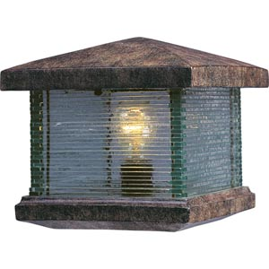 Triumph Earth Tone One-Light Outdoor Deck Lantern with Clear Glass