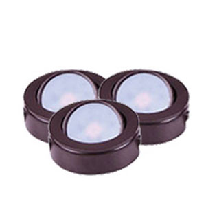 CounterMax MX-LD-AC Anodized Bronze 3000K LED Under Cabinet Puck Light Set of Three