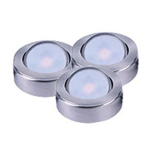 CounterMax MX-LD-AC Satin Nickel 3000K LED Under Cabinet Puck Light Set of Three