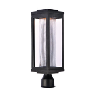 Salon LED Black 20-Inch LED Outdoor Post with Clear Ribbed Glass