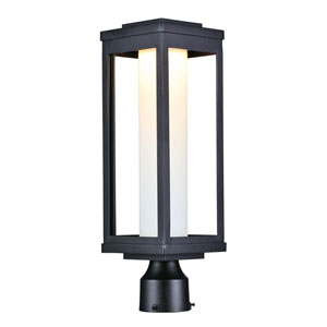 Salon LED Black 20-Inch LED Outdoor Post with Satin White Glass