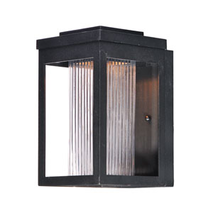 Salon LED Black LED Outdoor Wall Mount with Clear Ribbed Glass