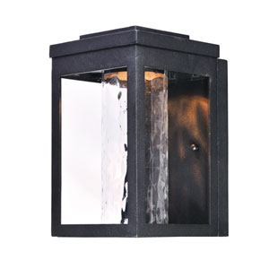 Salon LED Black 10-Inch LED Outdoor Wall Mount with Water Glass