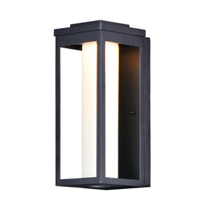 Salon LED Black 15-Inch LED Outdoor Wall Mount with Satin White Glass