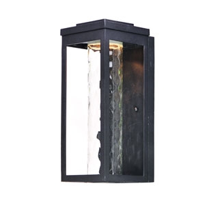 Salon LED Black 15-Inch LED Outdoor Wall Mount with Water Glass