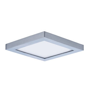 Wafer LED Satin Nickel Five-Inch LED Square Flush Mount