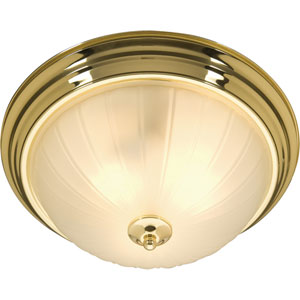 Essentials Polished Brass Two-Light Flush Mount