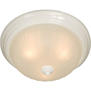 Essentials White Two-Light Flush Mount
