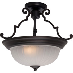 Maxim Oil Rubbed Bronze Two-Light Semi-Flush with Frosted Glass