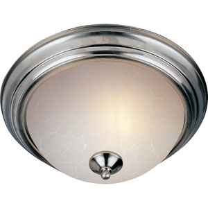Essentials - 584x Satin Nickel Thirteen-Inch Two-Light Flushmount with Ice Glass