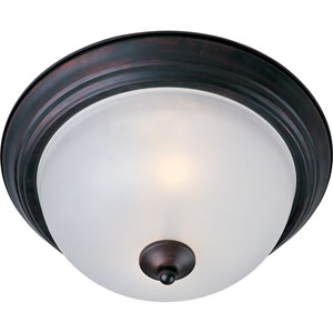 Essentials - 584x Oil Rubbed Bronze Three-Light Flushmount with Frosted Glass
