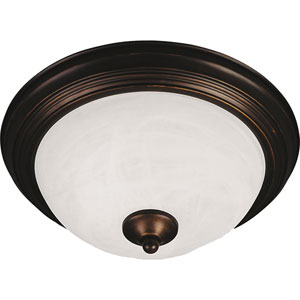 Essentials - 584x Oil Rubbed Bronze Three-Light Flushmount with Marble Glass