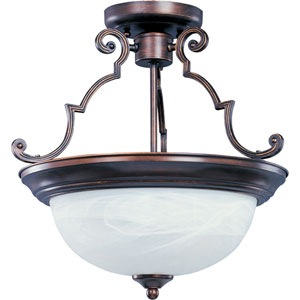 Maxim Oil Rubbed Bronze Two-Light Semi-Flush with Marble Glass