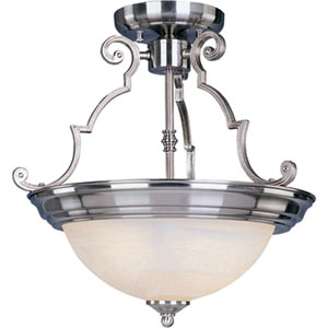Maxim Satin Nickel Two-Light Semi-Flush with Marble Glass