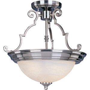 Maxim Satin Nickel Three-Light Semi-Flush with Marble Glass