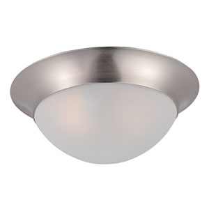 Essentials - 5850 Satin Nickel One-Light Flushmount with Frosted Glass