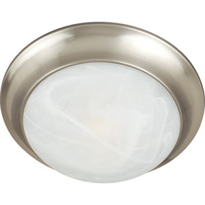 Essentials - 5850 Satin Nickel One-Light Flushmount with Marble Glass
